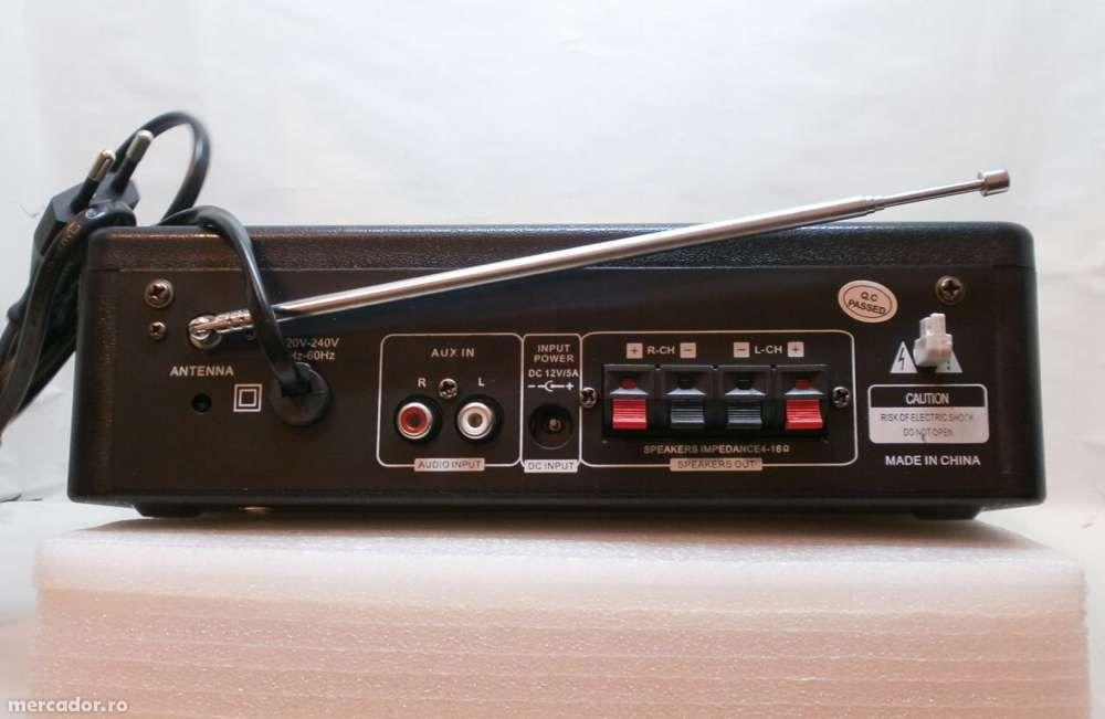 AMPLIFICATOR Mixer Radio FM,KARAOKE, CU MP3 PLAYER si doua porturi mic