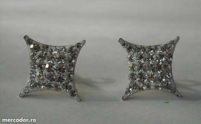 E69, cercei argint 925, noi/marcati, cu cristale swarovski albe, mari