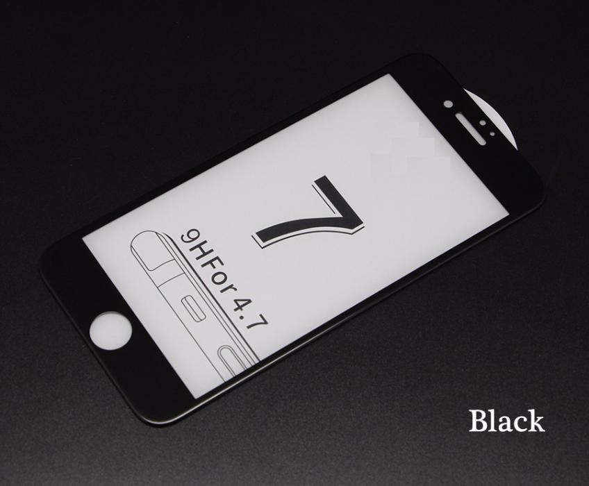 Folie Complet Sticla Iphone 7 7 + 8 8 + Neagra Alba Curbata 5D/6D