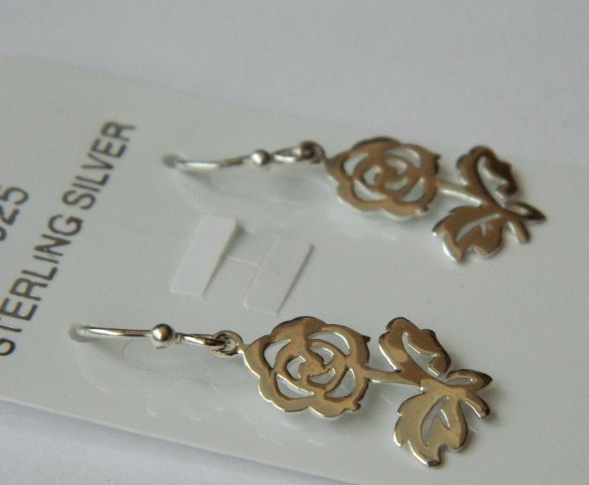 ARG158,cercei argint 925,noi/marcati, masivi, trandafiri
