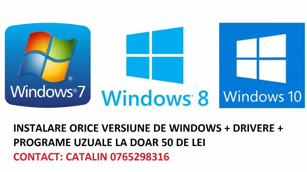 Instalare Windows 7,8,10 +drivere+ programe calculator/laptop Pitesti