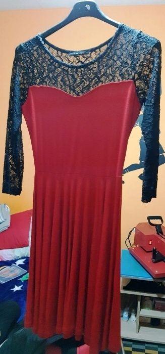 Rochie eleganta,noua, rosu cu negru, marimea S, pret 45-lei