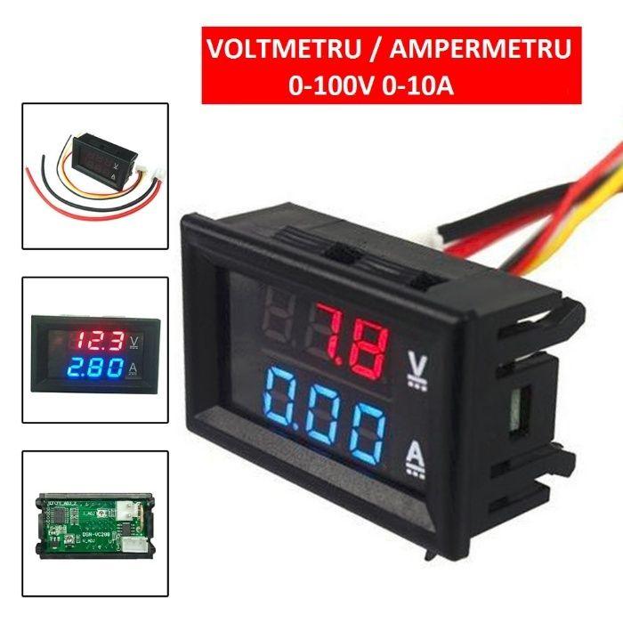 Voltmetru Ampermetru VOLTAMPERMETRU de panou LED Digital 0-100V 0-10A