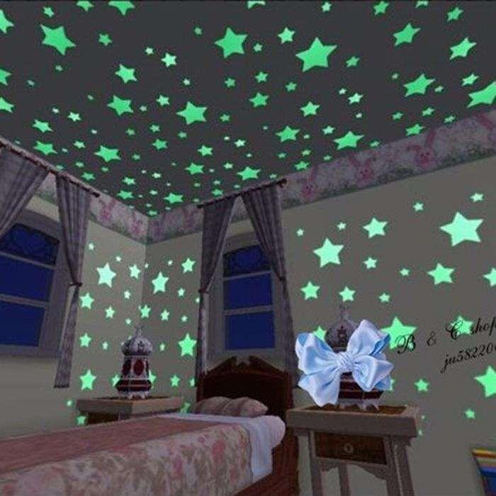 Set 100 Stelute fosforescente | stickere tavan pereti | camera copii