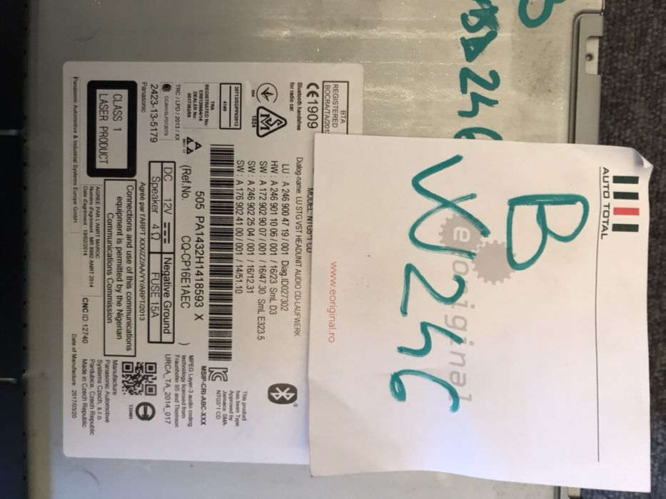 Radio CD Mercedes A B CLA W246 W176 W117 cod A2469004719