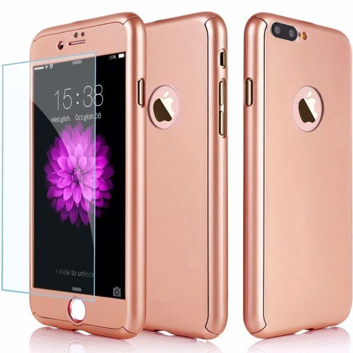 Iphone 8 8 Plus - Husa 360 din Plastic Subtire Fata Spate Folie Sticla