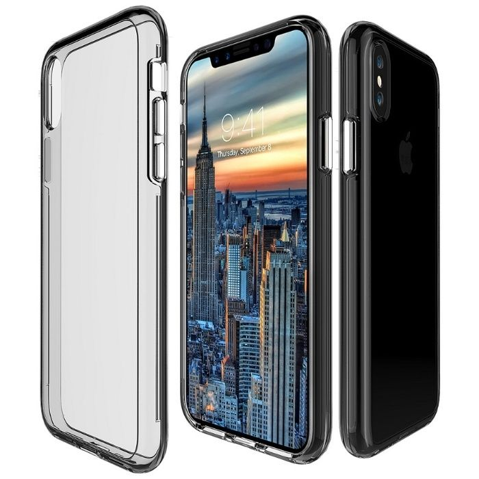 Husa 360 Crystal Spate Din Plastic Fata Din Silicon - Iphone X XS 10
