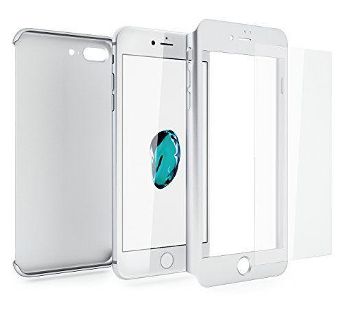 Husa iPhone 7PLUS SILVER 360 grade protectie fata-spate + Folie sticla