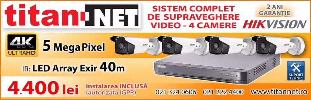 Sistem 4 Camere Supraveghere Video complet HIKVISION + Instalare 4400