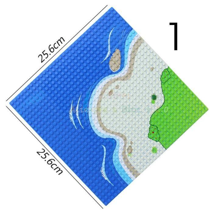 Placi noi de constructie tip Lego cu model insula + nisip + apa
