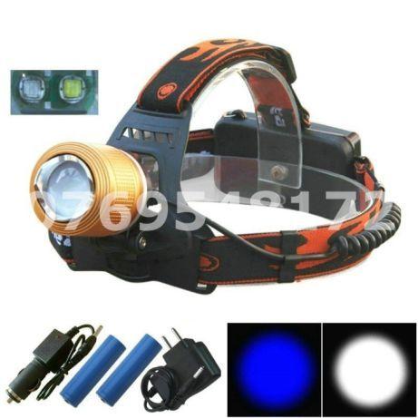 Lanterna Frontala Reincarcabila de cap cu 2 Leduri Alb si Albastru Q5