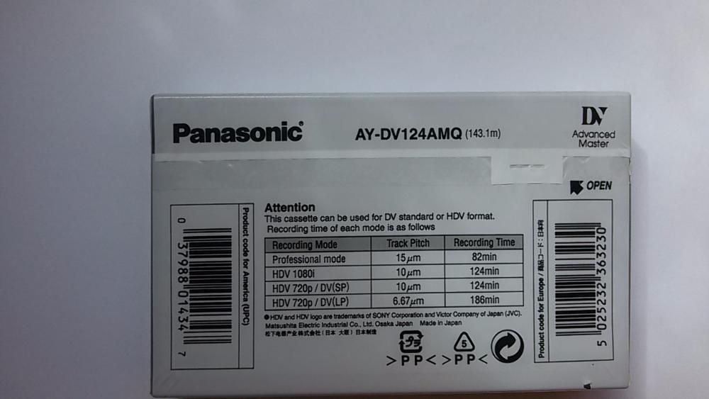 Caseta video DV HDV Panasonic AY-DV124AMQ