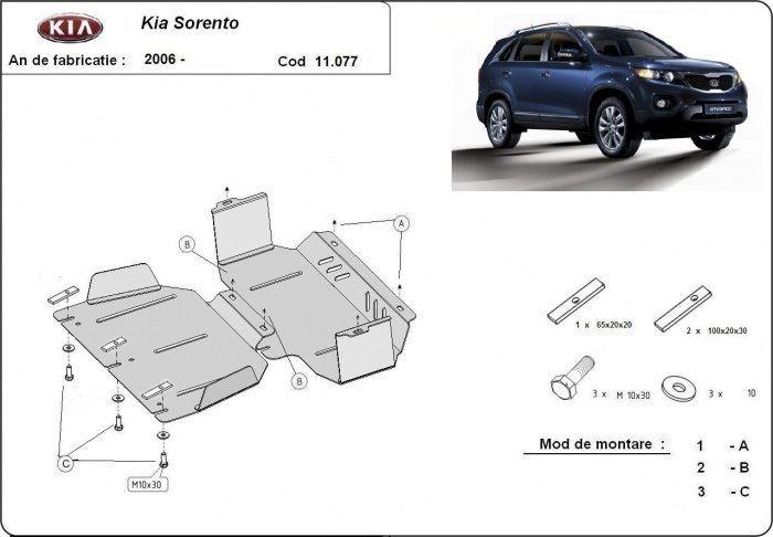 Scut metalic pentru motor Kia Sorento 2006-2010 - otel 2mm