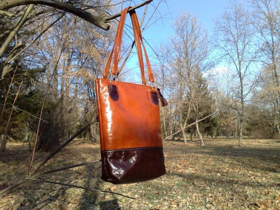 Дамска чанта от естествена кожа, ръчна изработка