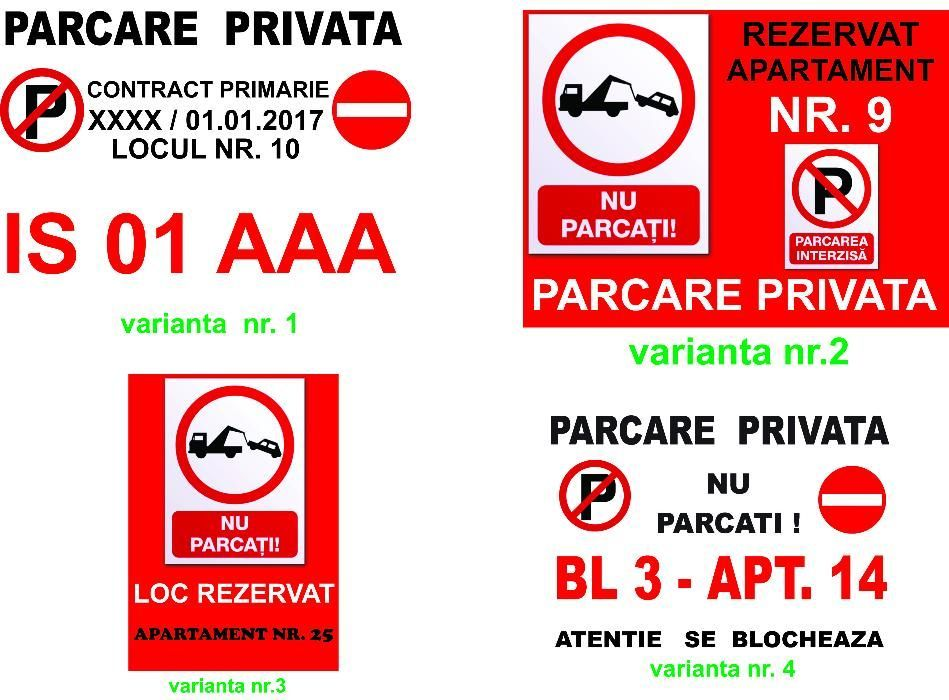 Placute EXTERIOR personalizate format A3 parcare /curte/terenuri