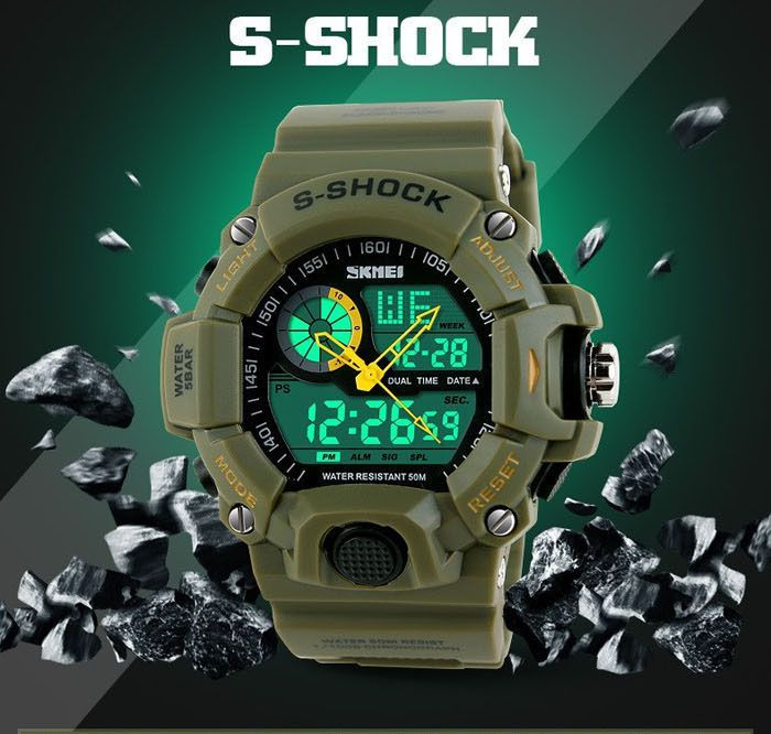 ceas Skmei 1029 Double Movt Army LED Watch - ARMY GREEN