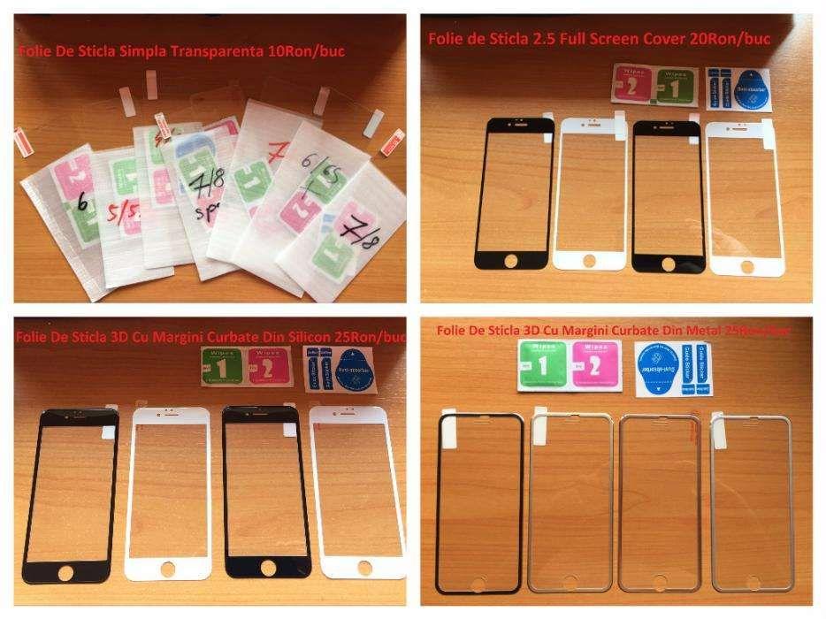 Vand folii sticla iphone 5s/6/6s/7/8 full screen margini curbate 3D 4D