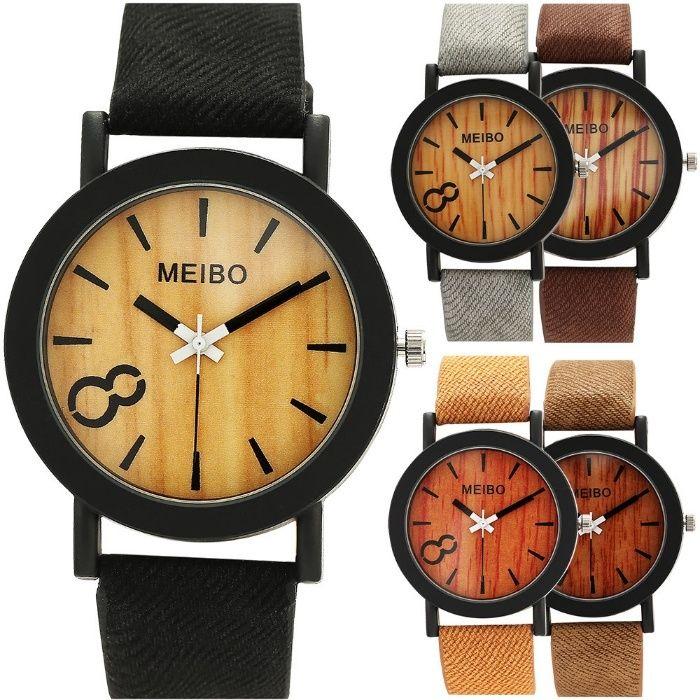Meibo ceas universal cuart lemn cu metal casual barbati femei