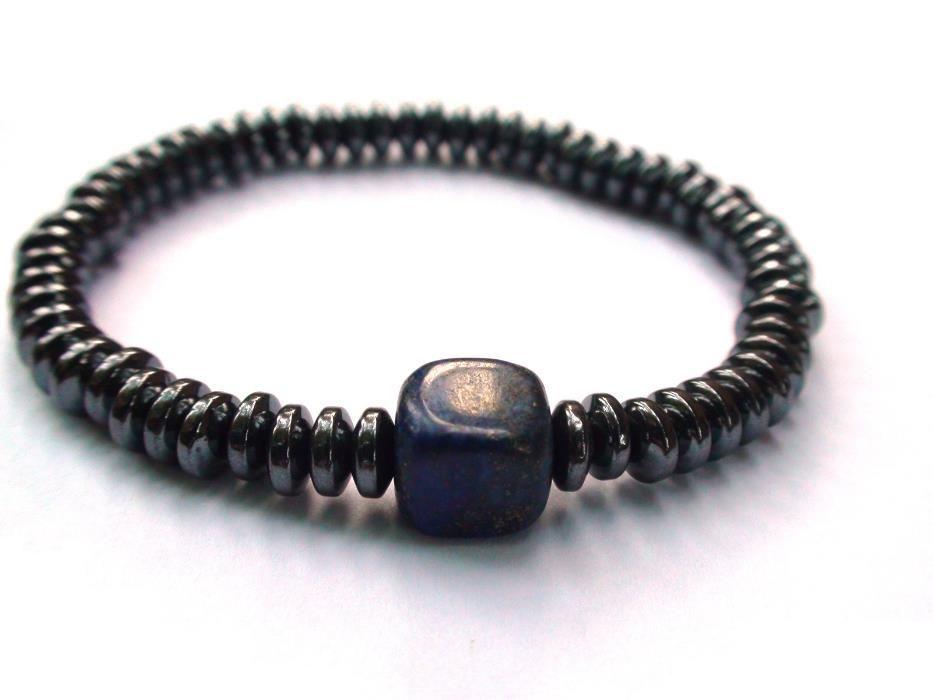 Bratara elastica barbati/unisex – Hematit, Lapis lazuli