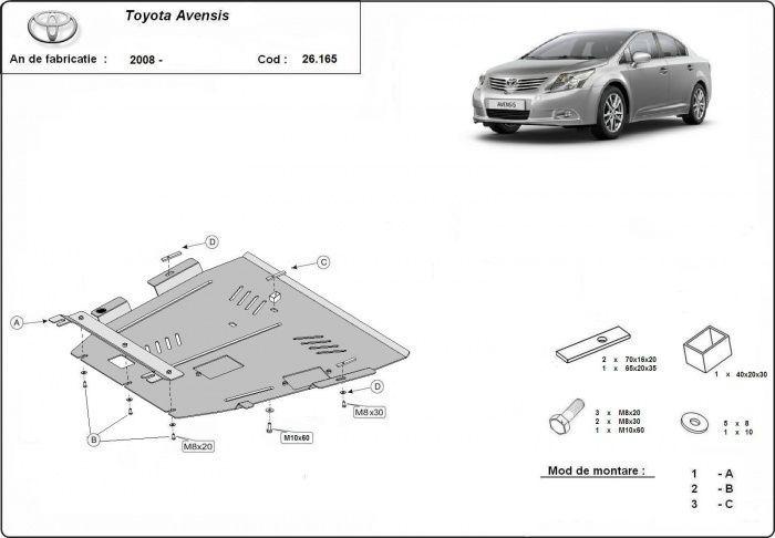Scut metalic pentru motor Toyota Avensis 2008-2016 - otel 2mm