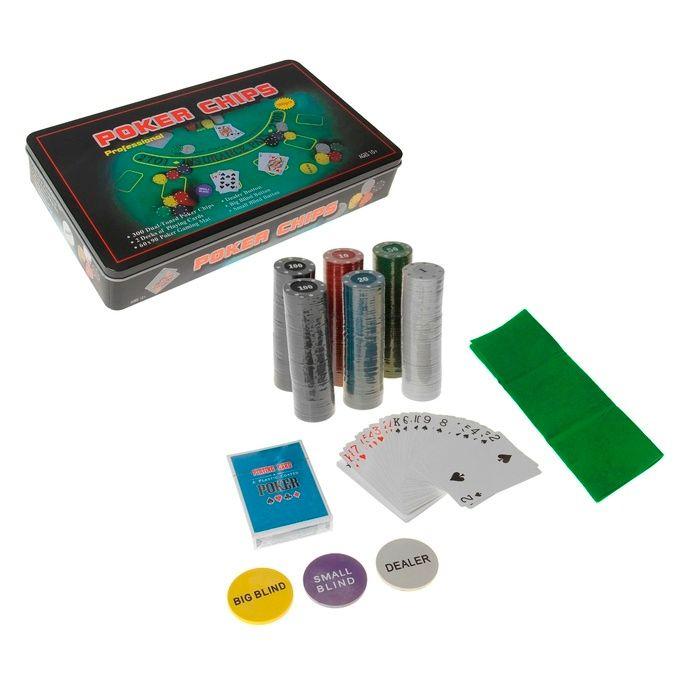 Набор для покера Poker Chips: 2 колоды карт по 54 шт., 300 фишек,сукно