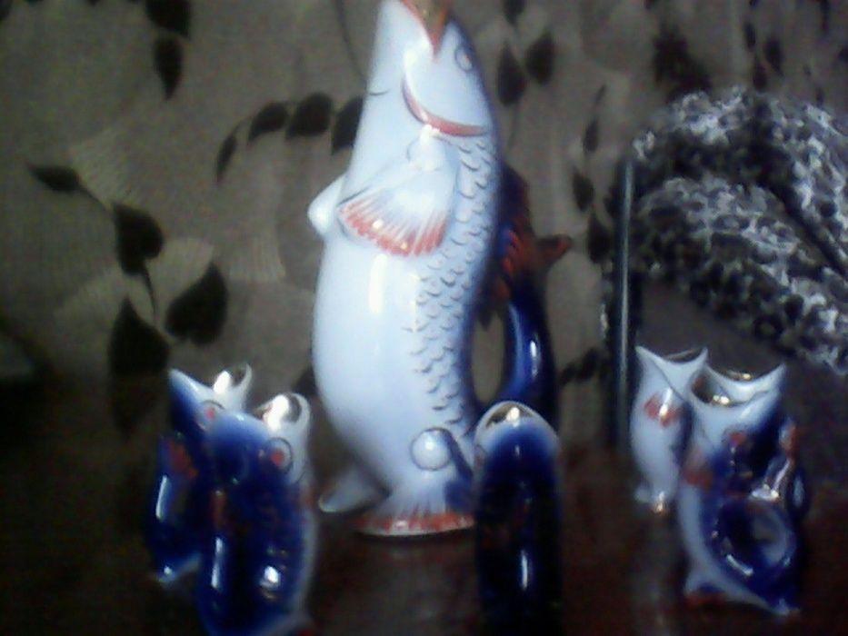 Коньячный набор из фарфора Рыба и шесть рыбок.