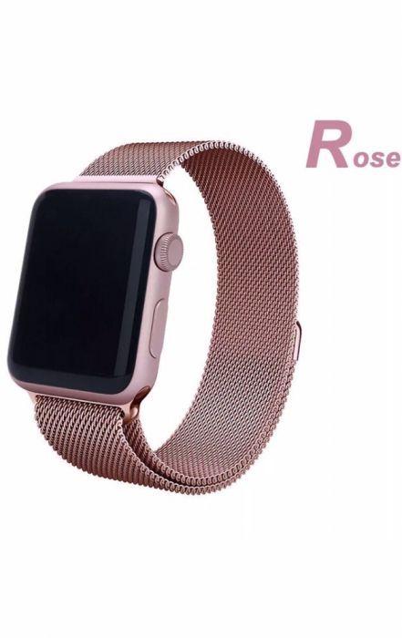 Bratara / Curea Apple Watch 4,3,2,1 Milanese Loop Rose Roz si Gold