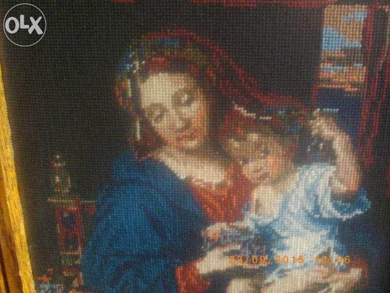 46х36 см-Мадоната С Гроздето-Нов Гоблен-DMC-Колекционерски С Рамка