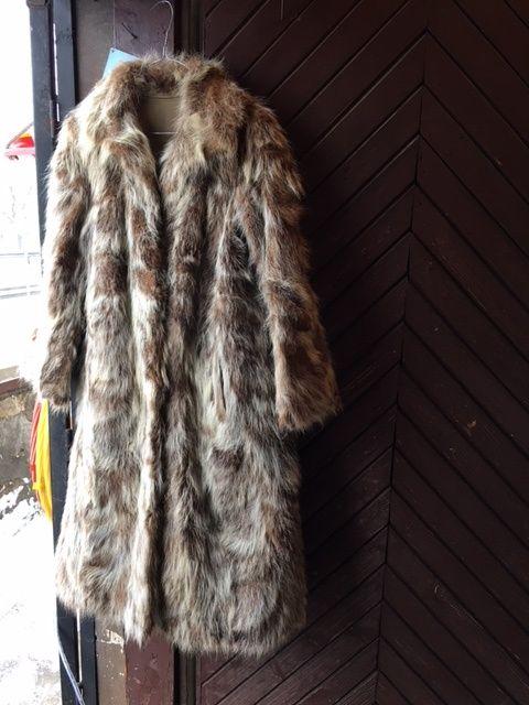 кожено двулицево палто с естествен косъм 48 размер 170см