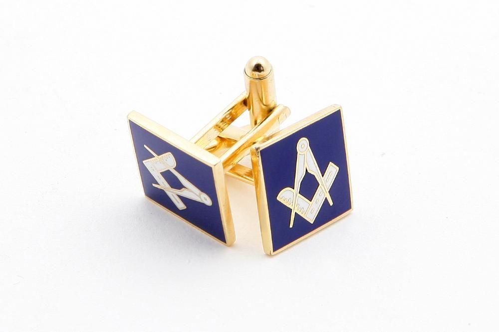 Butoni Mason - Echer si Compas (patrati, fond albastru)