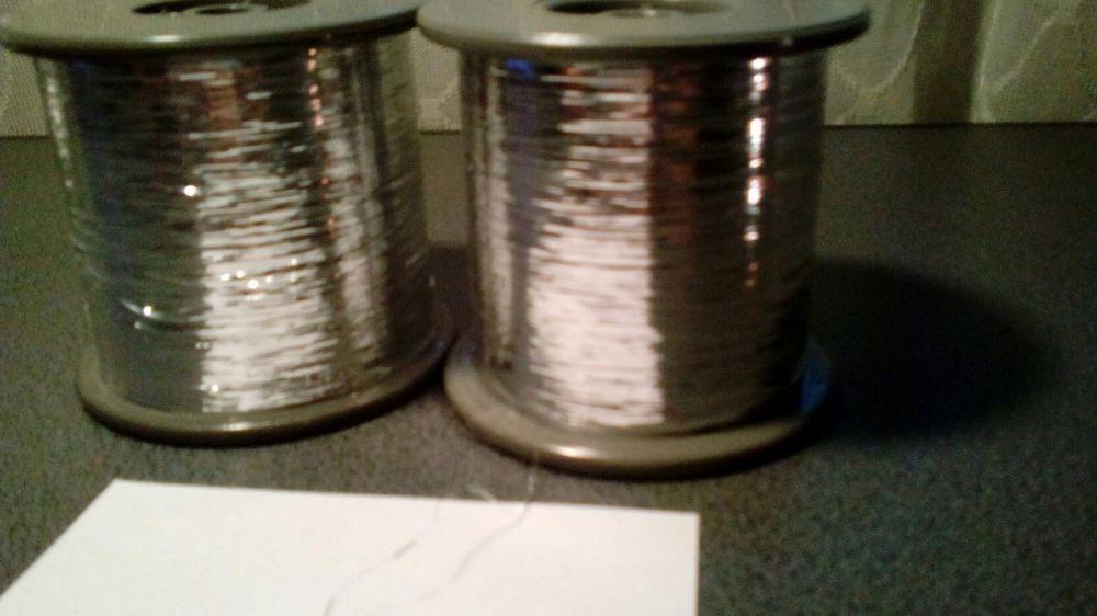 Rola fir metalic lame/lurex argintiu GLAMOUR pt tricotat la masina
