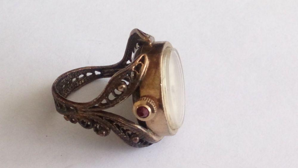 """Часы-кольцо-перстень """" Чайка"""" позолоченные."""
