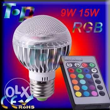 Bec LED RGB 9W telecomanda program schimbare culoare