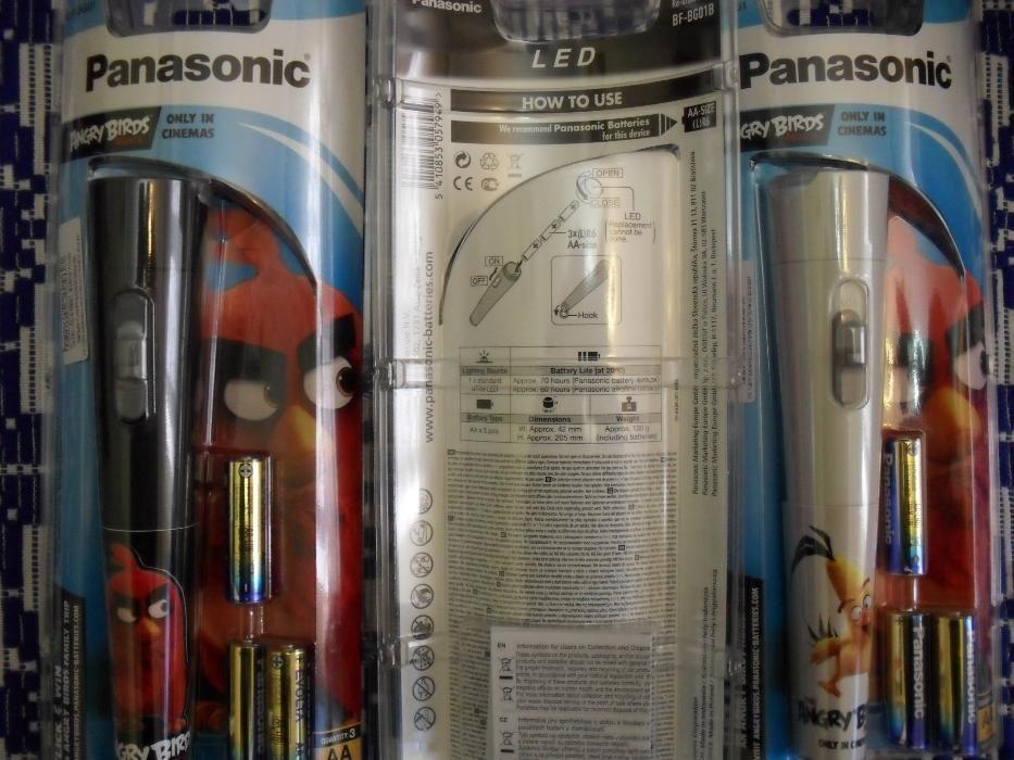 PANASONIC, Angry Birds, lanterna LED, noua, sigilata, 3 baterii alkali