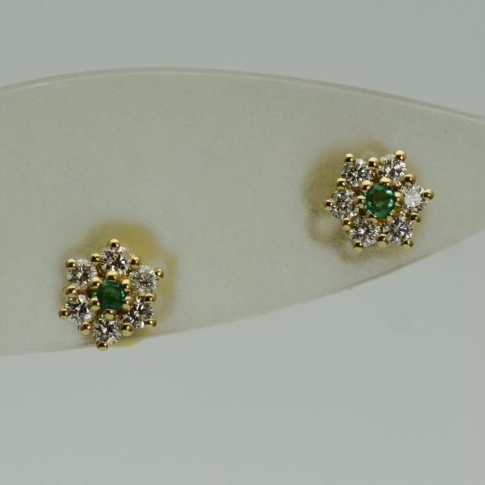 Cercei din aur galben 18k cu smaralde si diamante(cod 4153)