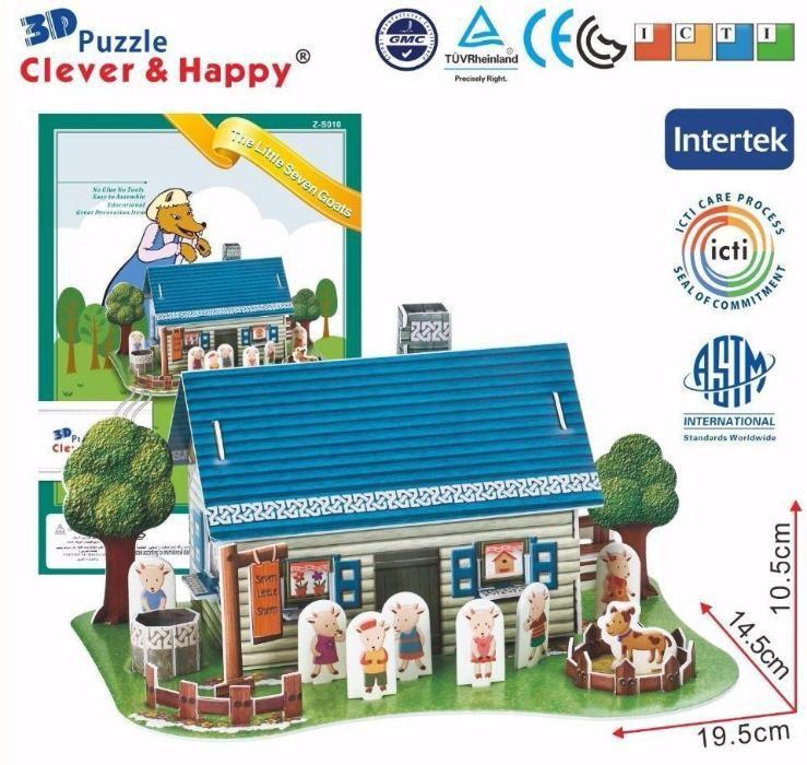Puzzle 3D - 3 modele disponibile: Arca lui Noe, Casa roz, Cele 7 capre