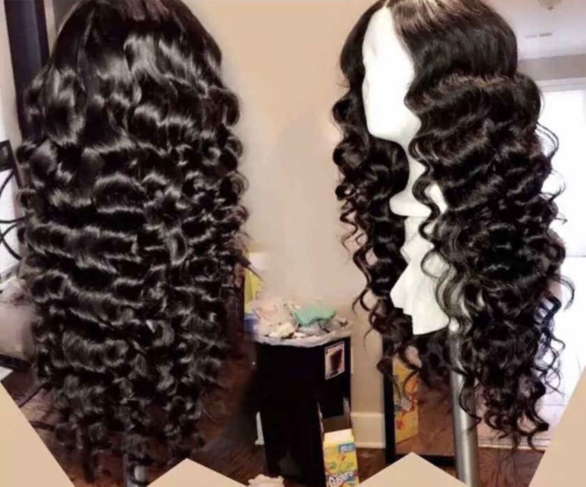 Peruca humana de cabelo ondulado