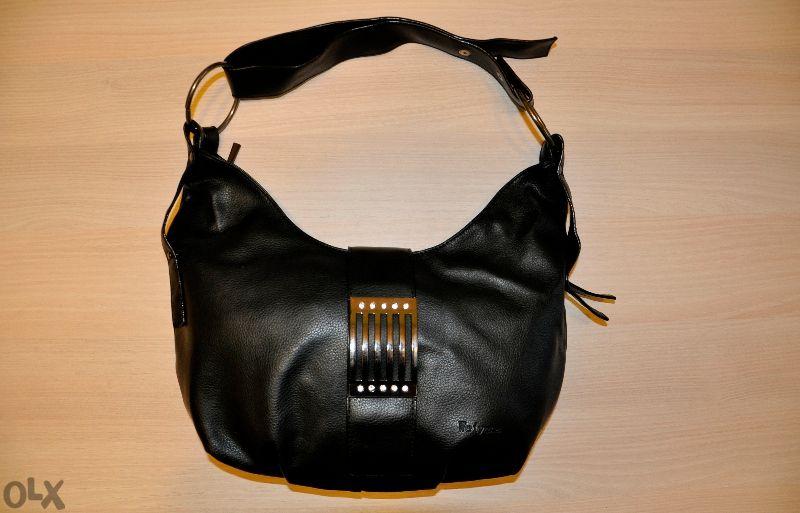 Черна кожена чанта - мека Weiyena