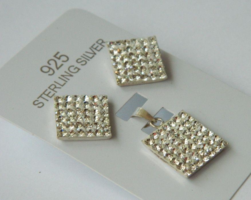 AEG221,set argint 925,nou/marcat, masiv, cristale swarovsky albe