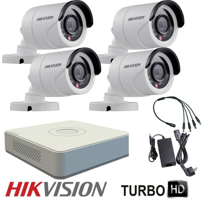 Комплект за видеонаблюдение с 4 HD-TVI камери HIKVISION