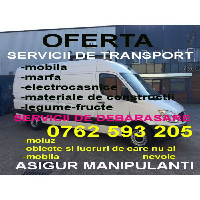 TRANSPORT MARFA mutari,MOBILA,moloz,f. ieftin,manipulare,dube 3.5 tone