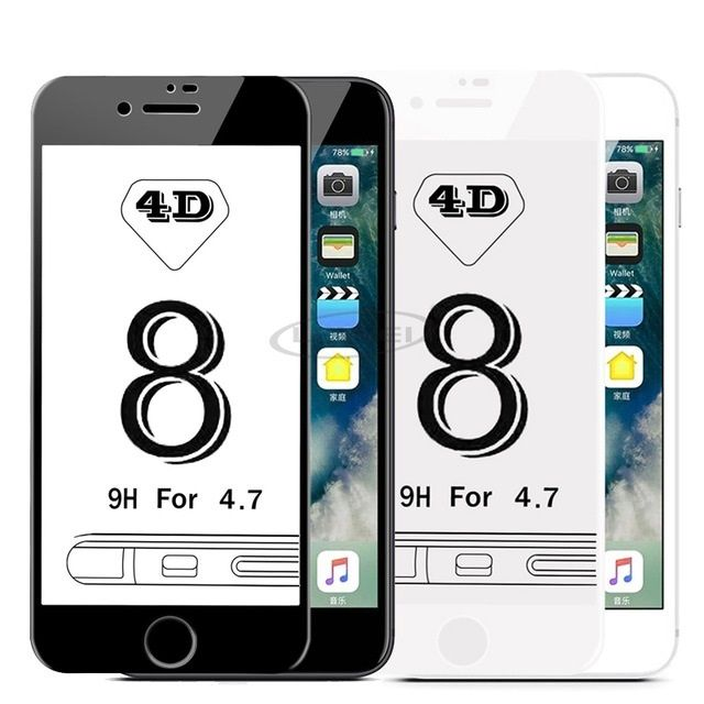 Iphone 8 8 Plus - Folie Sticla Securizata Curbata 6D Alba, Neagra