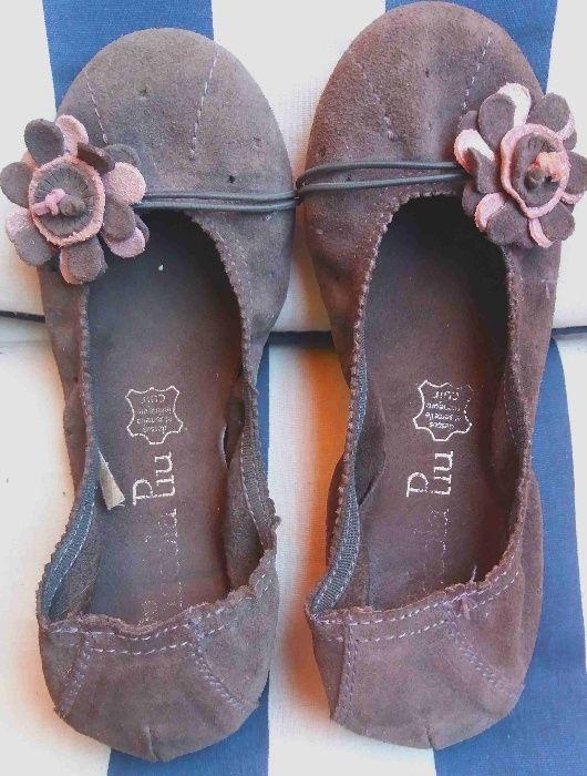 pantofi balerini fete piele intoarsa gri si piele negri tamaris
