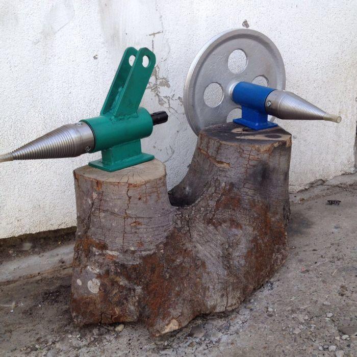 Masina crapat spart despicat lemne abric cardan tractor con filetat