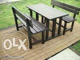 Градински комплект - маса и 2 пейки - ПО ПОРЪЧКА