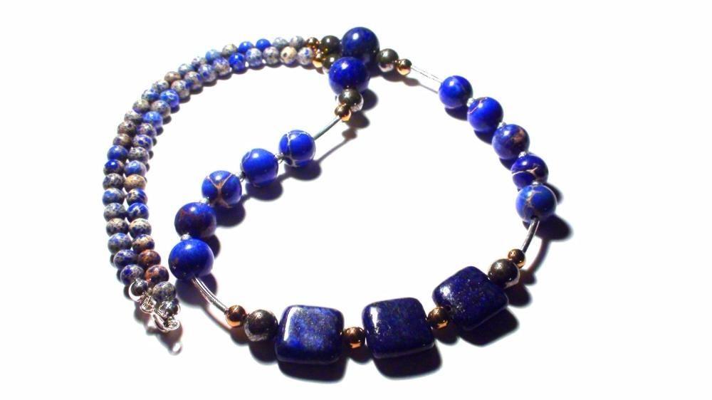Colier elegant albastru denim ocazie Lapis lazuli Pirita Argint 925