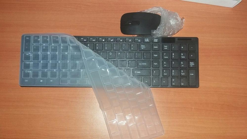 Kit de teclado e Mouse wireless e protector de poeira