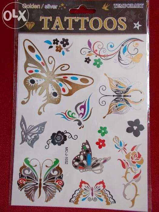 Tatuaje temporare aurii argintii fluturi tattoos format mare