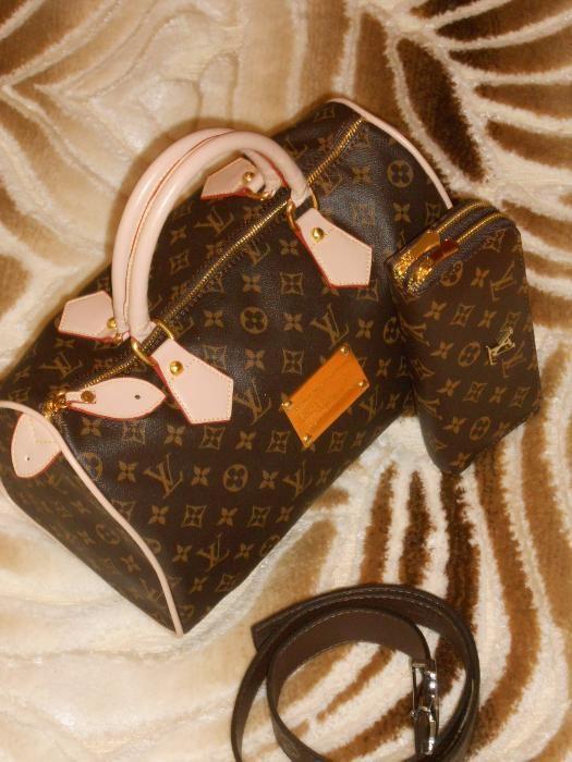 SET geanta Louis Vuitton+portofel -calitatea intai,logo metalic