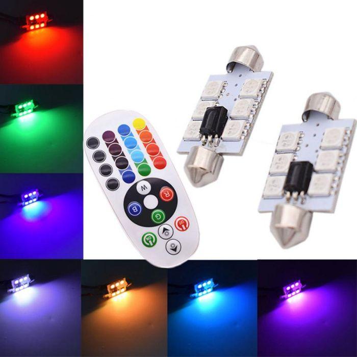 Set 2 becuri LED SOFIT 36mm sau 39mm cu telecomanda RGB